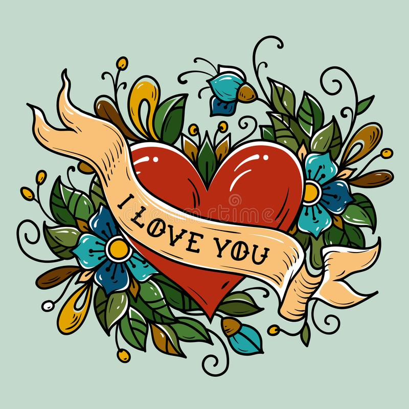 Holiday card for Valentines Day. Tattoo red heart decorated ribbon, blue flowers, leaves and curls. Lettering I LOVE YOU vector illustration