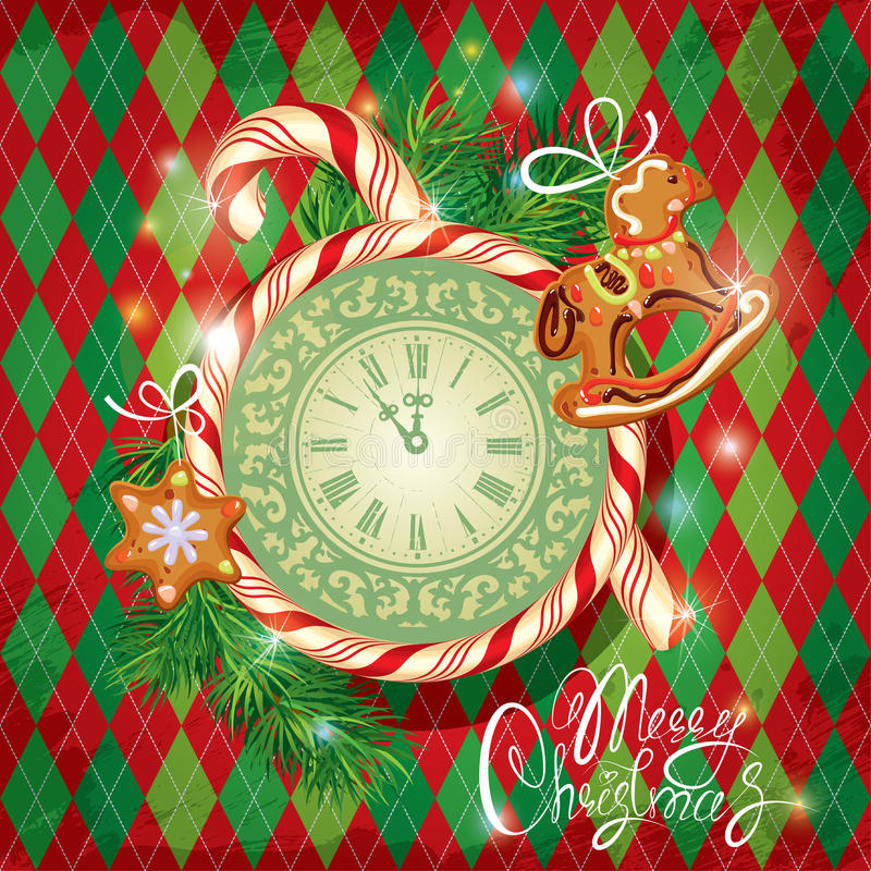 Holiday Card with watch, candy, xmas gingerbread. And fir tree branches on checked background. Hand written calligraphic text Merry Christmas stock illustration