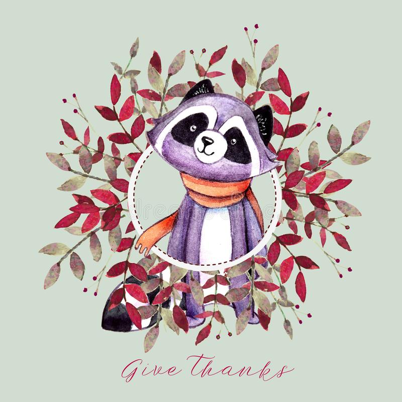 Free Holiday Card With Squirrel, Autumn Color Leaves, Mushrooms And Text `Happy Thanksgiving` For Thanksgiving Day. Royalty Free Stock Photography - 127532127