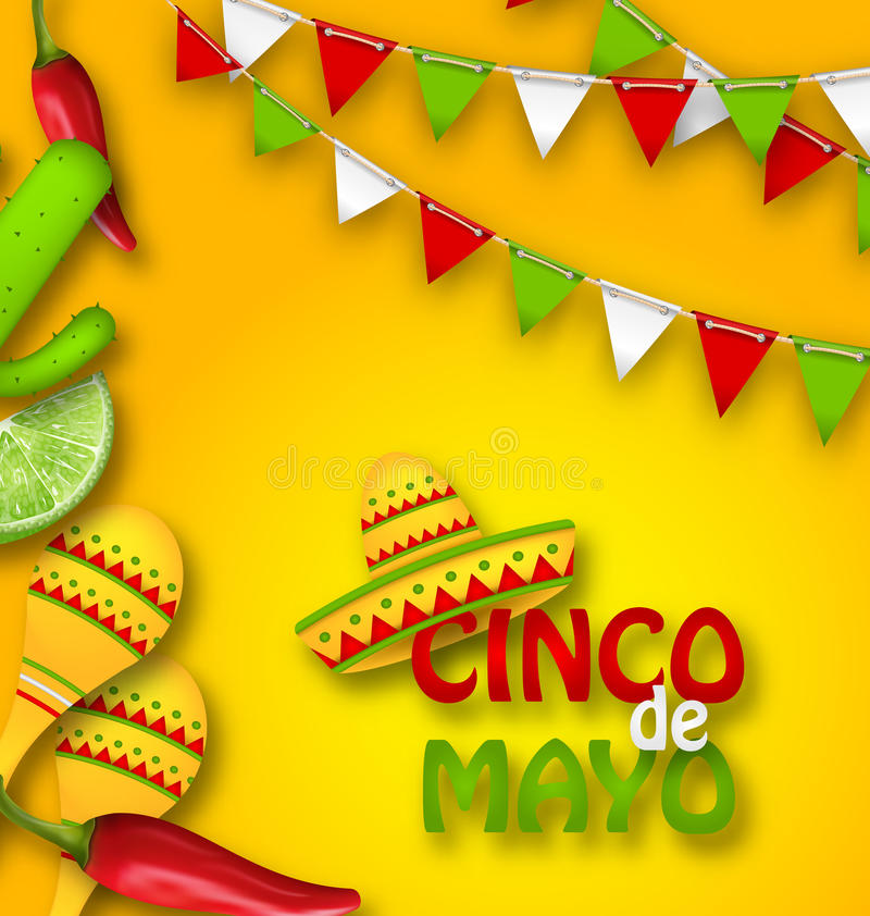 Holiday Celebration Banner for Cinco De Mayo with Chili Pepper, Sombrero Hat, Maracas, Piece of Lime, Cactus vector illustration