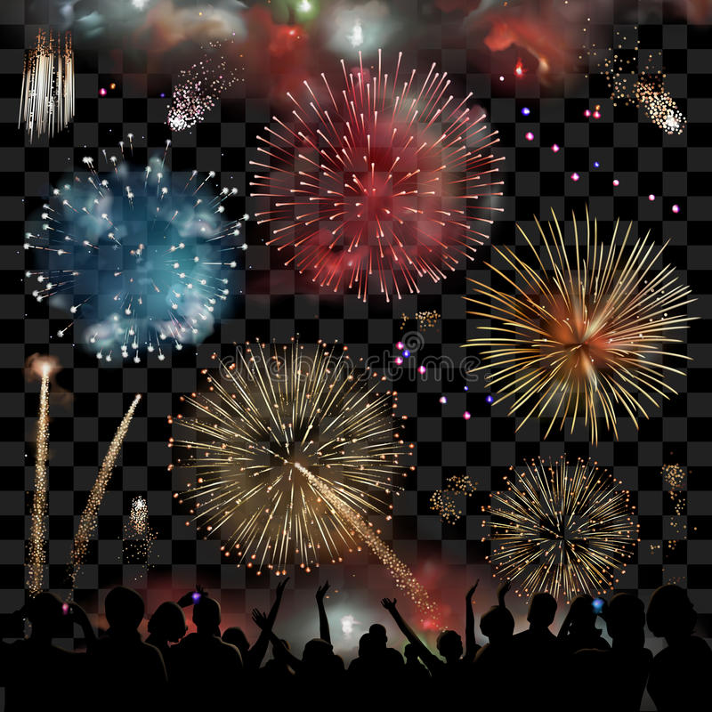 Free Holiday Celebration With Fireworks Show At Night, Silhouette Of People Watching A Festive Fireworks Display, Set Of Vector Stock Photography - 78440592