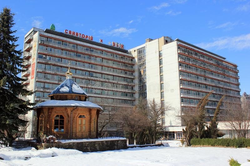 Holiday centers in Truskavets, Ukraine. Truskavets, Ukraine - March 9, 2018: Holiday centers in Ukrainian spa resort Truskavets, famous for its mineral springs stock photos