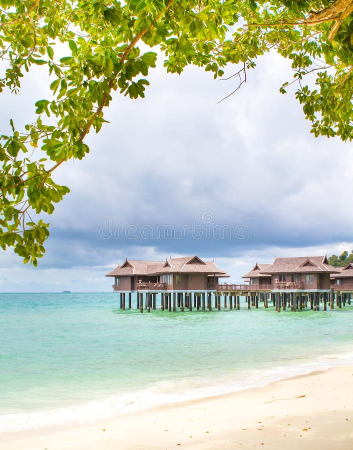 Holiday chalets. Holiday resort with water chalets royalty free stock photography
