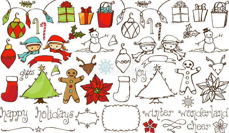 Holiday Cheer Hand Drawn Collection royalty free illustration