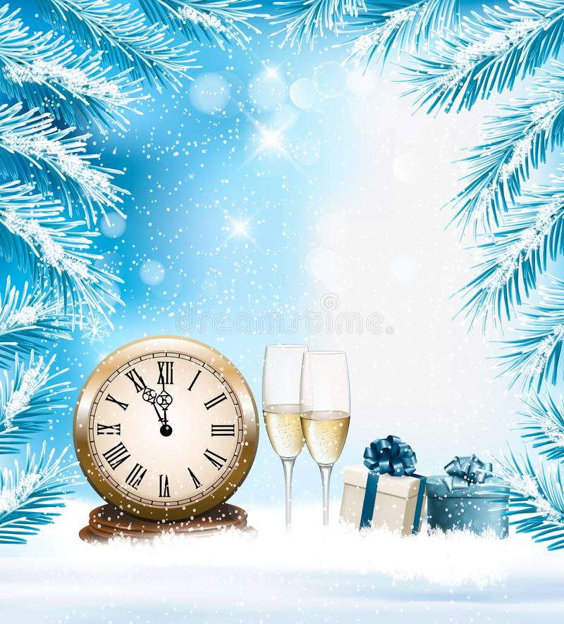 Download Holiday Christmas Background With A Champange And Clock. Stock Vector - Image: 103288453