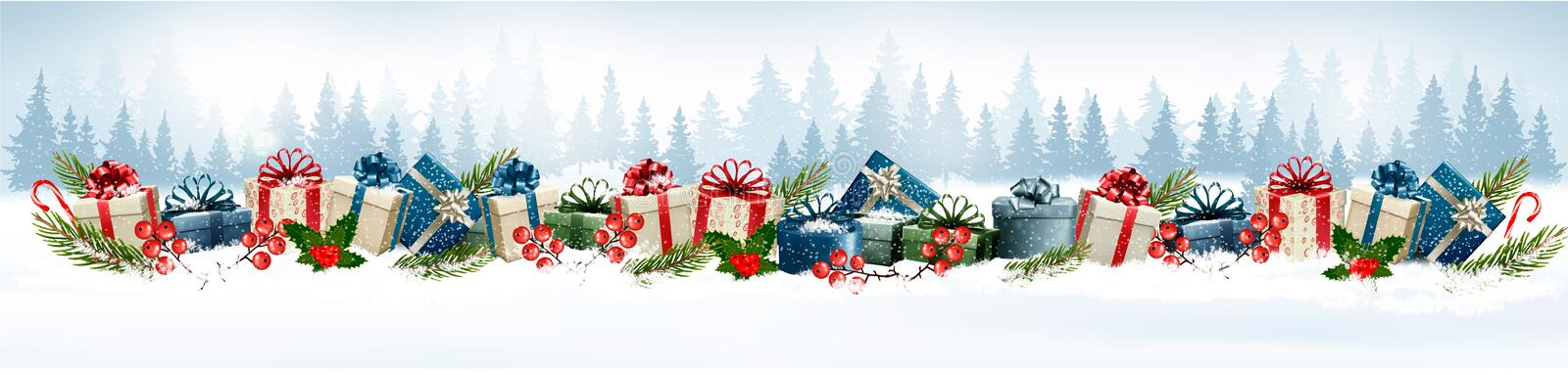Holiday Christmas background with colorful gift boxes. royalty free illustration