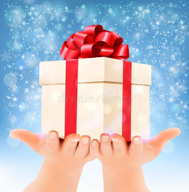 Holiday christmas background with hands holding gift box. Concept of giving presents. Vector vector illustration