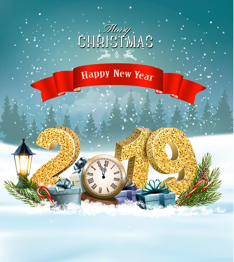 Holiday Christmas background with 2019 and presents royalty free illustration
