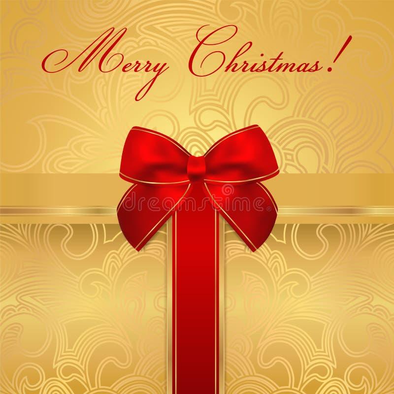 Holiday / Christmas / Birthday card. Gift box, bow stock illustration