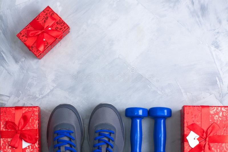 Holiday christmas birthday party sport flat lay composition stock photos