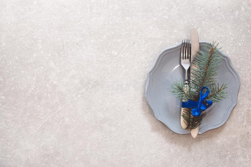 Holiday Christmas food background, cutlery, plate and Christmas stock images