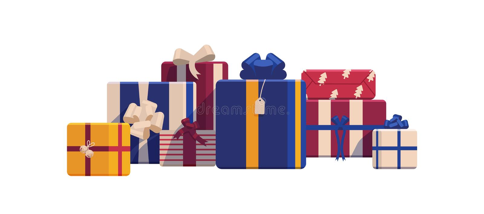 Holiday Christmas gift boxes wrapped in bright colored paper and decorated with ribbons and bows. Packed festive. Presents isolated on white background royalty free illustration