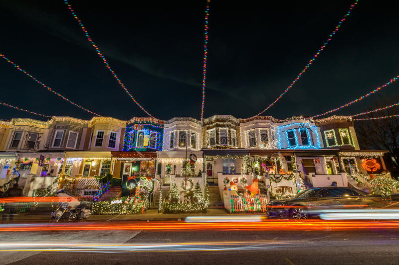 Holiday/ Christmas Lights on Building in Hampden, Baltimore Mary royalty free stock image