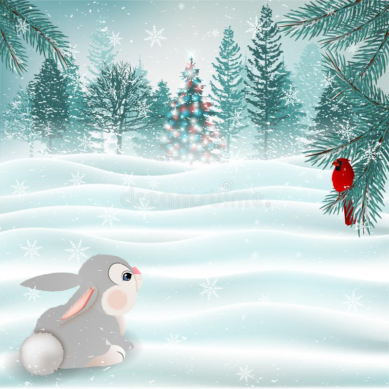 Holiday Christmas scene with cute bunny and cardinal bird. Vector. Illustration royalty free illustration