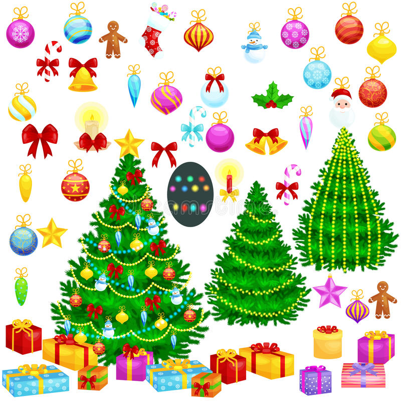 Holiday christmas tree isolated decoration for celebrate xmass with ball gold bells candles stars lights candy and stock illustration