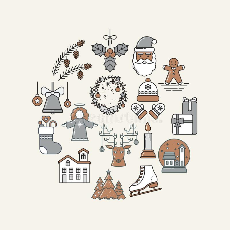 Free Holiday Circle Collection Of Line Art Icons. Gingerbread, Santa Claus, Christmas Tree, Reindeer, Bell, Candle, Gifts Royalty Free Stock Photo - 202764635