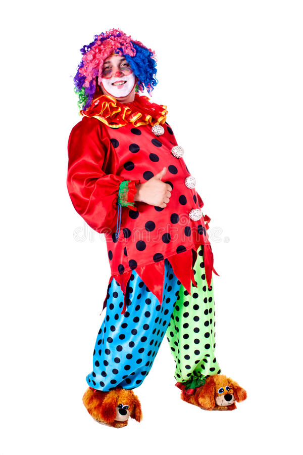 Holiday clown. Man dressed as clown red. White background. Studio photography royalty free stock images