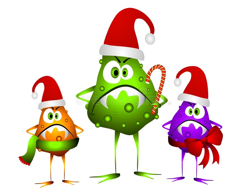 Holiday Cold and Flu Bugs royalty free illustration