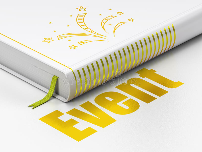 Holiday concept: book Fireworks, Event on white background. Holiday concept: closed book with Gold Fireworks icon and text Event on floor, white background, 3D vector illustration