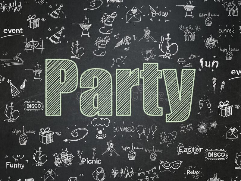 Holiday concept: Party on School board background royalty free illustration