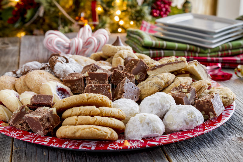 Holiday Cookie Gift Tray With Assorted Baked Goods Stock ...