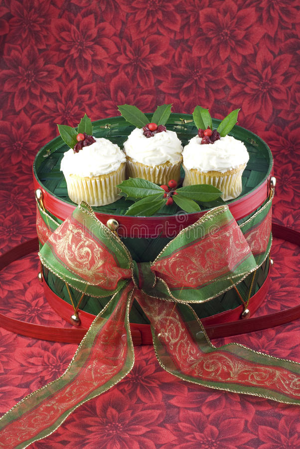 Free Holiday Cupcakes On A Christmas Drum Stock Photography - 11766602