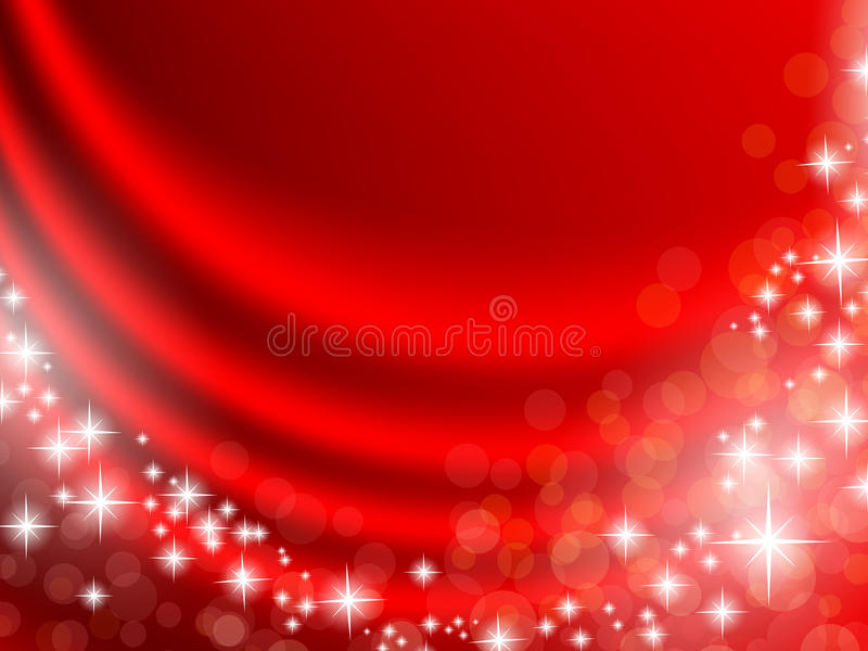 Holiday curtain. Holiday red curtain with shining stars and copyspace for your text vector illustration