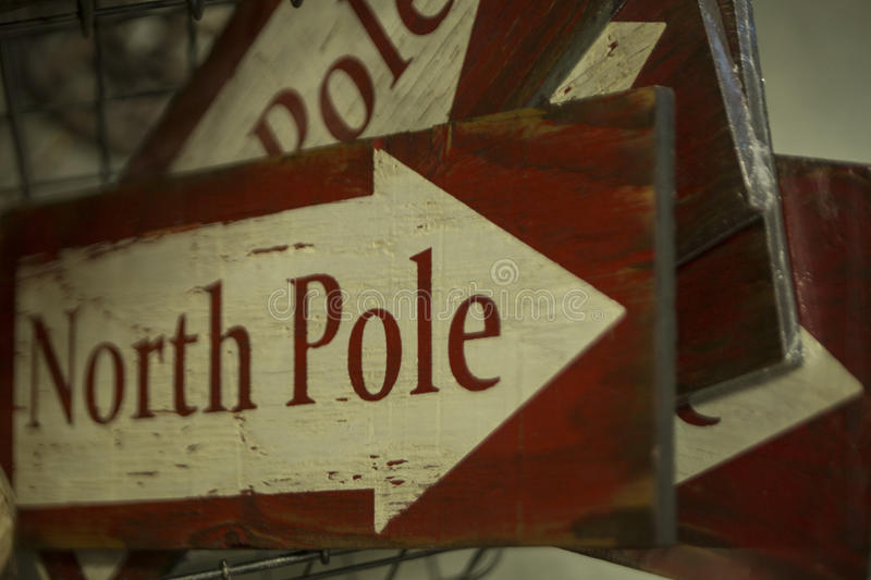 Holiday decoration North Pole sign stock photography