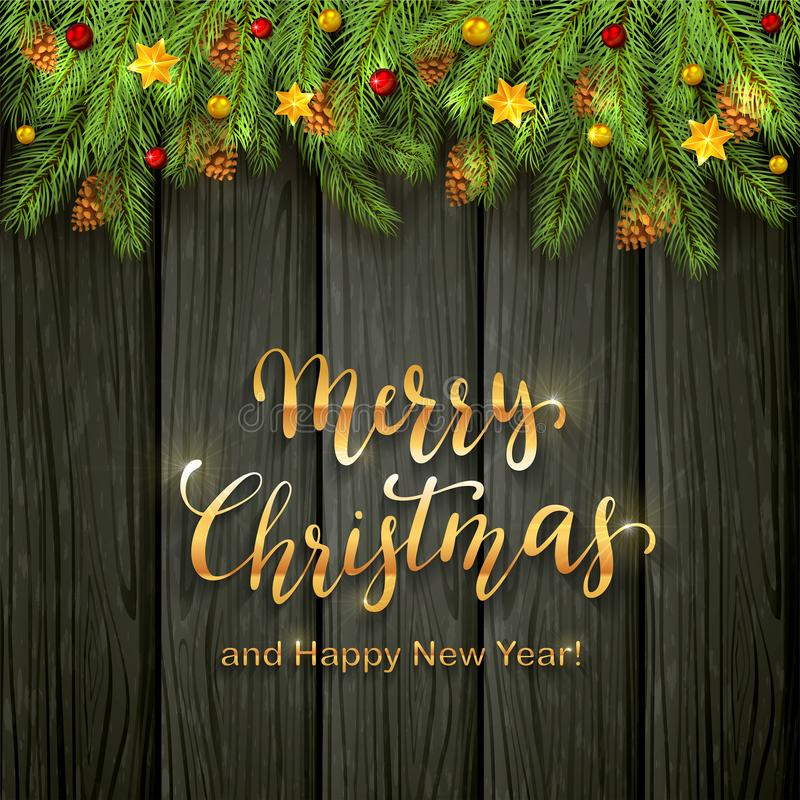 Holiday decorations with Christmas stars, balls and fir tree branches on black wooden background. Golden lettering Merry Christmas. And Happy New Year stock illustration