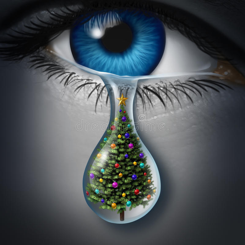 Holiday Depression. And winter season anxiety and emotional crisis concept as a human eyeball crying a tear with a christmas tree inside as a metaphor for vector illustration