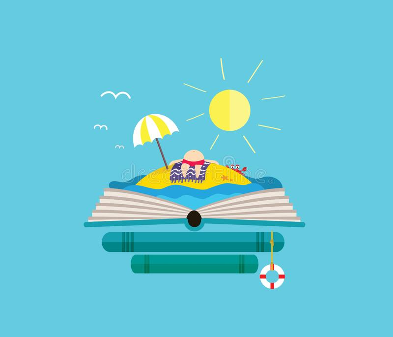 Holiday desert island with sunbathing man on the open book. Perfect for bookstore. vector illustration