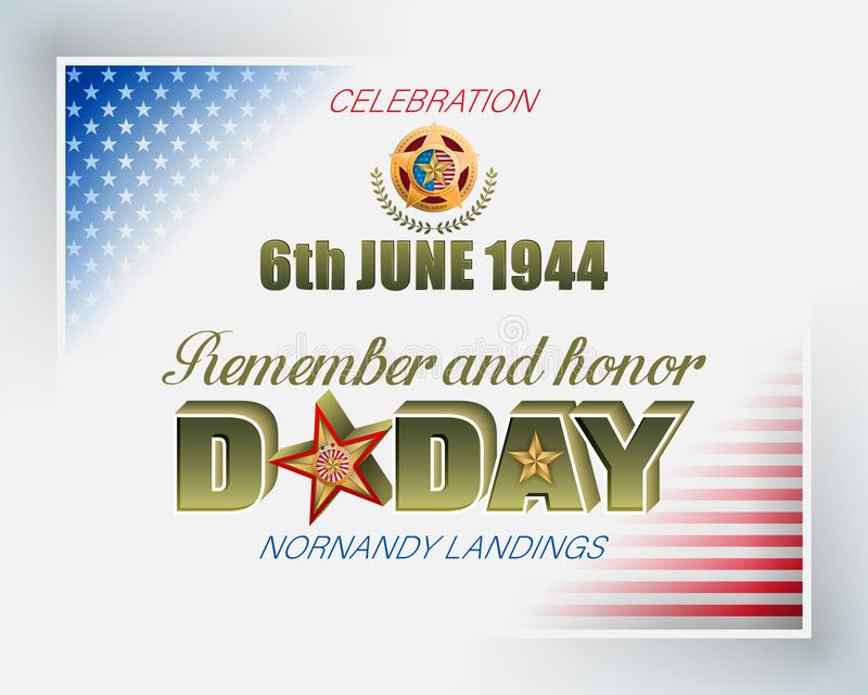 Normandy landings, American D-Day, celebration stock illustration