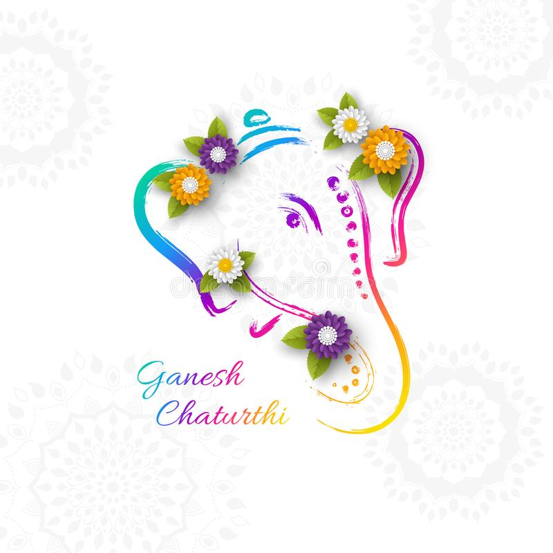 Holiday design for traditional Indian festival of Ganesh Chaturthi. Hand drawn illustration with paper cut style flowers. Grunge r royalty free illustration