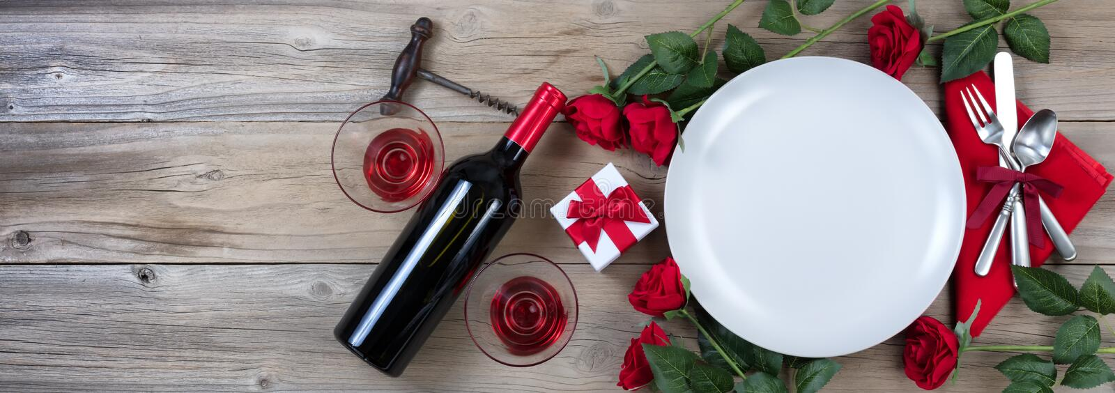 Valentines Dinner with Red Wine on rustic wooden background stock photos