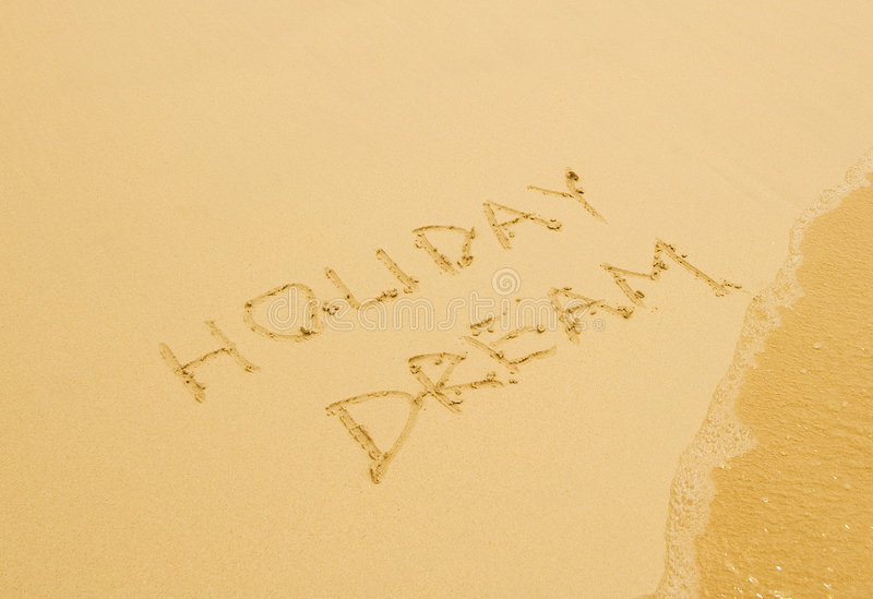 Download Holiday Dream Written In The Sandy Beach Stock Photos - Image: 4353863