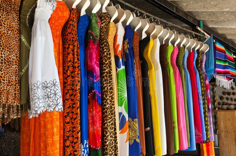 Holiday Dresses. Displayed by street vender in Puerta Vallarta royalty free stock photo