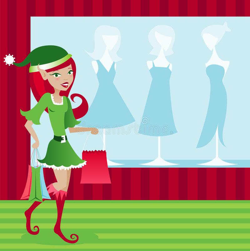 Download Holiday Elf Shopper stock vector. Illustration of green - 1359520