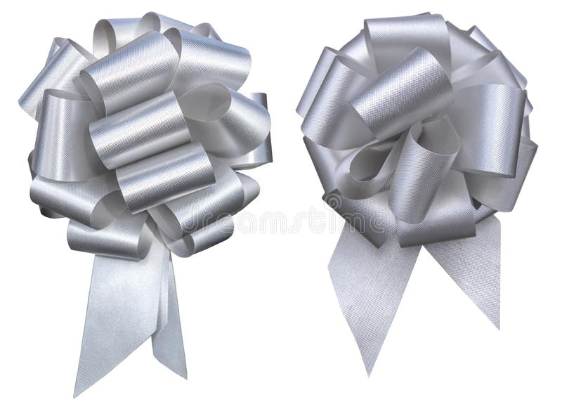 Holiday / event silver ribbon on white background. Two gey silver holiday decretive pull bow cluster issolated on white background mothers day, Christmas royalty free stock photo
