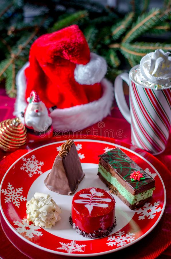Holiday fancy pastries stock images