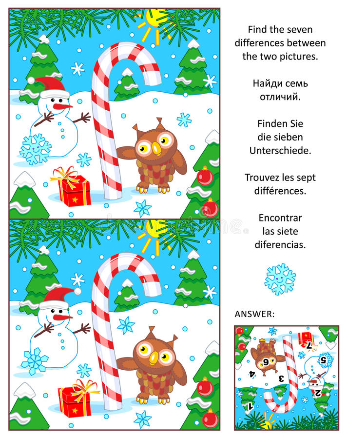 Holiday find the differences picture puzzle with candy cane stock illustration