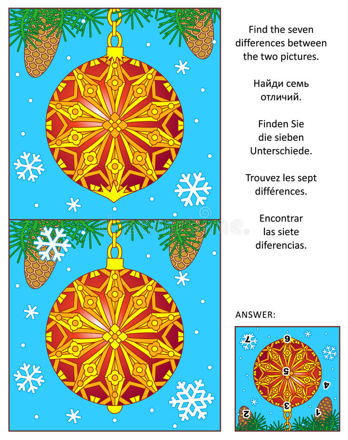 Holiday find the differences picture puzzle with decorated ornament stock illustration