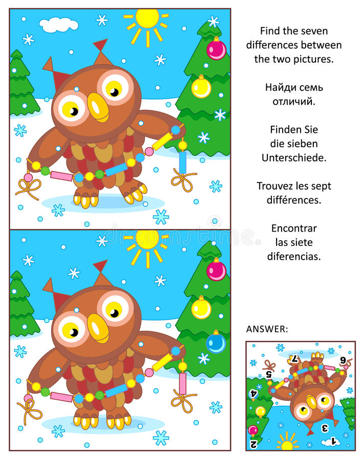 Holiday find the differences picture puzzle with owl and garland royalty free illustration