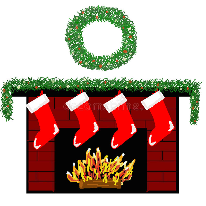 Holiday Fireplace 2 vector illustration