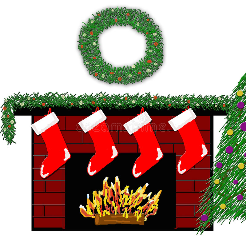 Download Holiday Fireplace 3 stock illustration. Illustration of home - 1713609