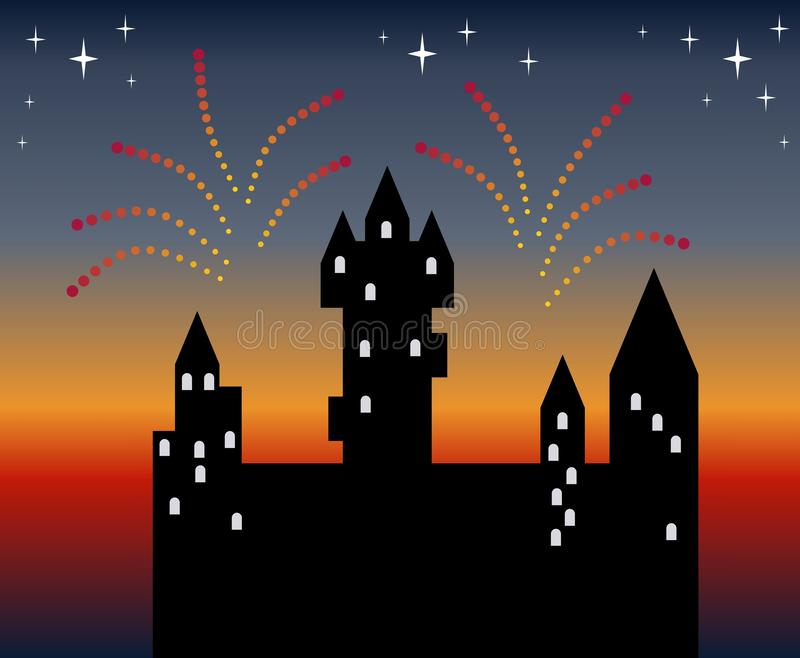 Holiday firework in evening sky. Silhouette of beautiful сastle. Vector illustration stock illustration