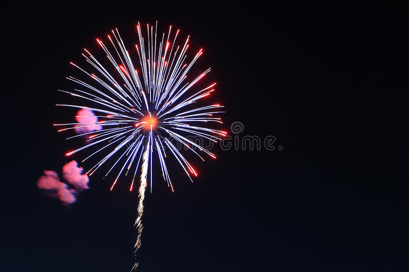 Holiday fireworks in night sky. royalty free stock photos