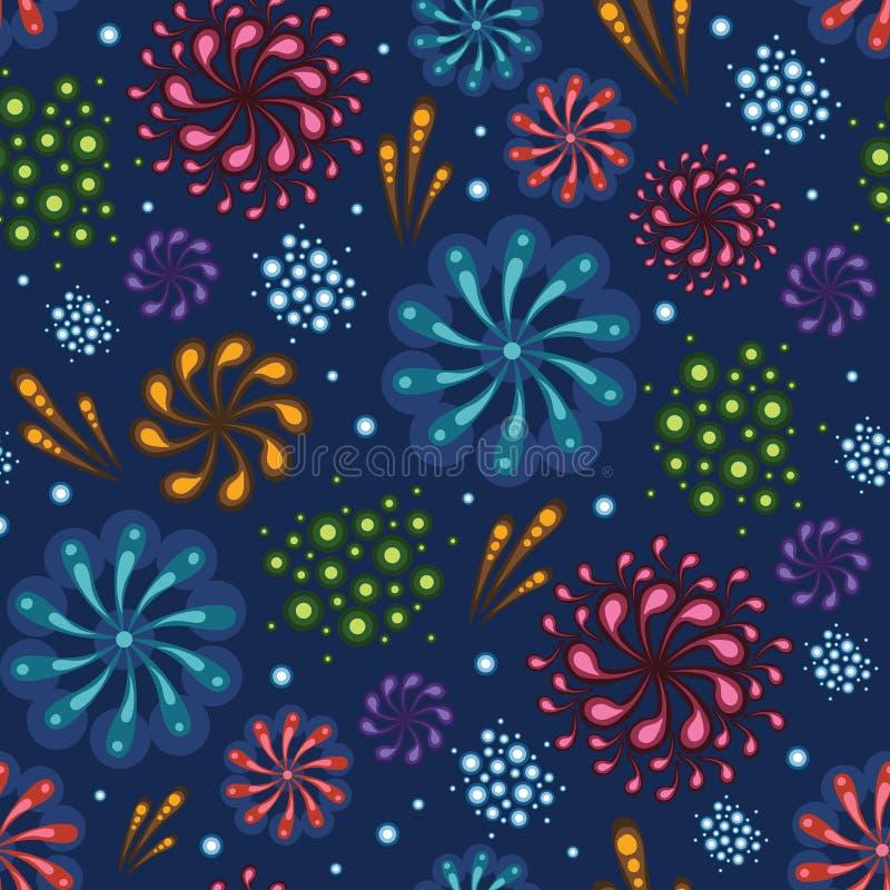 Holiday fireworks seamless pattern background royalty free illustration