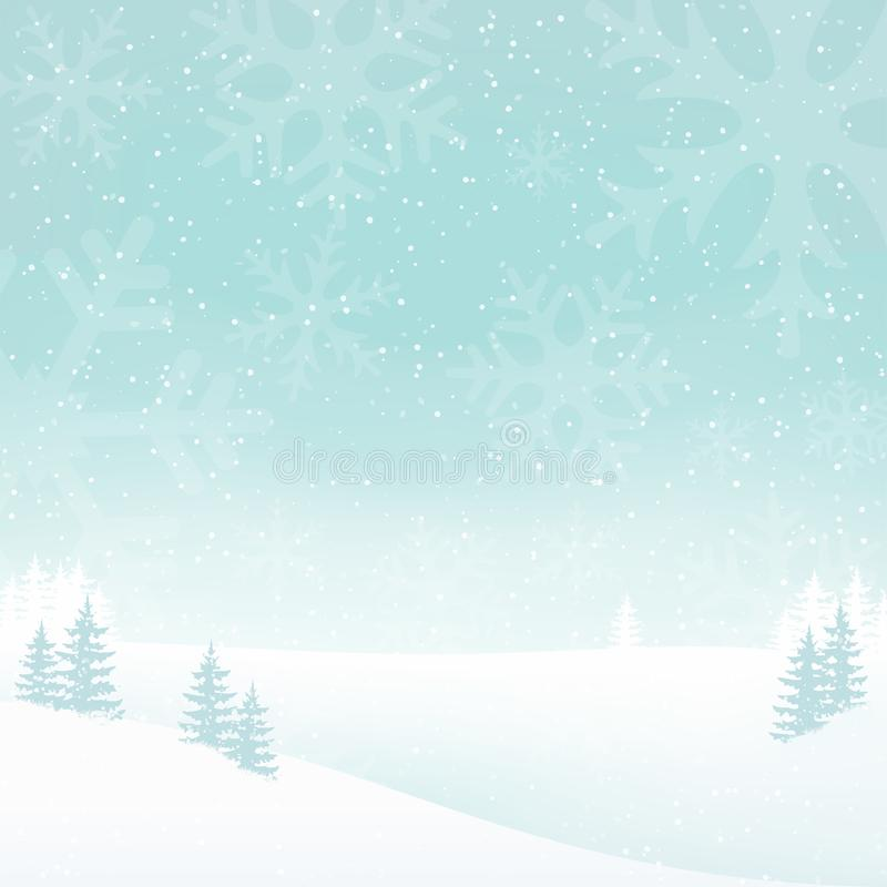 Holiday foggy winter landscape background with falling snow. White landscape background with trees, snowflakes. Clean and minimal design royalty free illustration