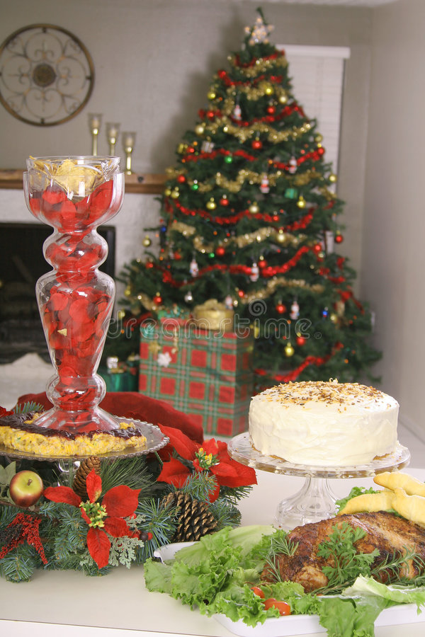 Holiday food spread vertical royalty free stock images