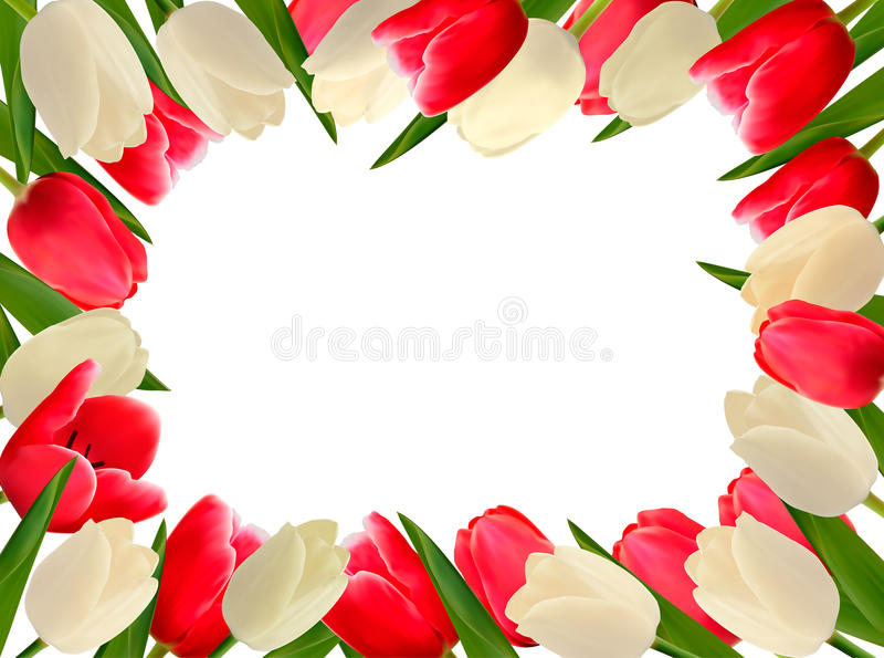 Holiday frame with colorful flowers. stock illustration
